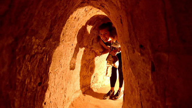 Visiting Cu Chi Tunnels
