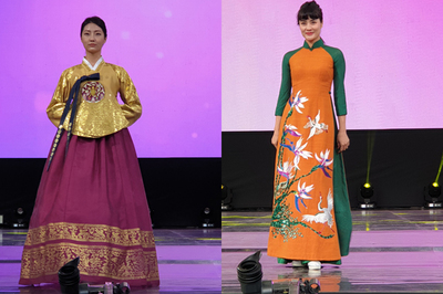 Áo dài Việt khoe sắc bên Hanbok của Hàn Quốc