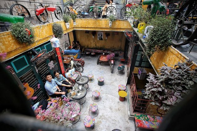 Hanoi coffee shop decorated with recycled items
