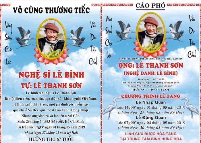 Thông tin về lễ tang của nghệ sĩ Lê Bình