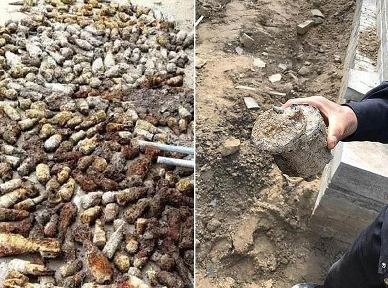 Đào đất xây bể bơi, phát hiện được cả kho bom