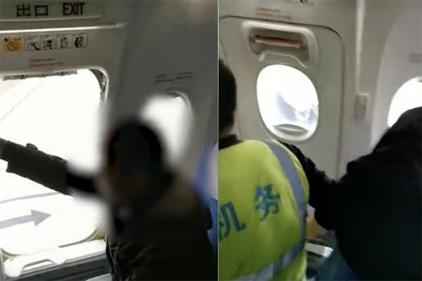 Trung Quốc,sự cố hy hữu,mở cửa thoát hiểm máy bay