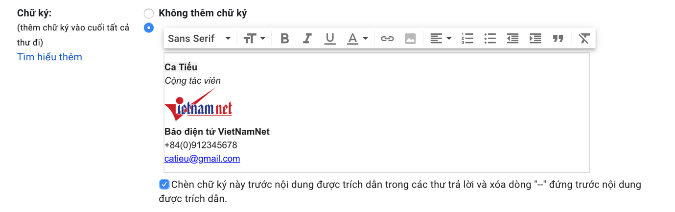 Cách tạo chữ ký đơn giản và chuyên nghiệp trên Gmail
