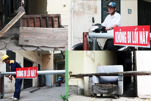 Barie chặn xe máy bất ngờ 'mọc chình ình' giữa ngách phố Hà Nội