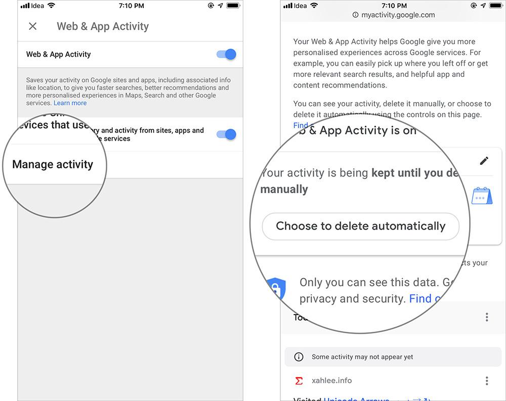 Cách tự động xóa lịch sử vị trí, dữ liệu ứng dụng và web của Google