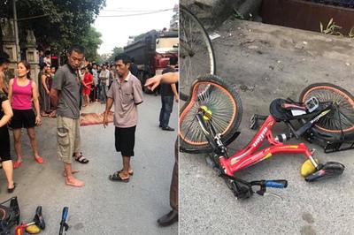Hà Nội: Xe bán tải tông 2 chị em chở nhau xe đạp, bé gái 7 tuổi chết thảm
