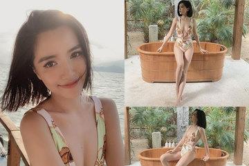 Bích Phương mặc áo tắm khoét sâu khoe vòng 1 gợi cảm
