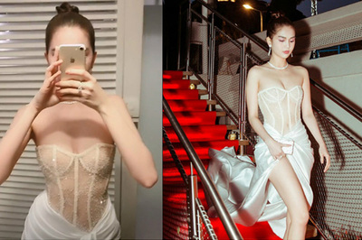 Ngọc Trinh tiếp tục hở bạo ở Cannes với áo xuyên thấu như nội y