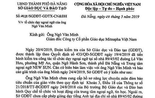Chưa được cấp phép vẫn tổ chức dạy Tiếng Anh cho học sinh Đà Nẵng