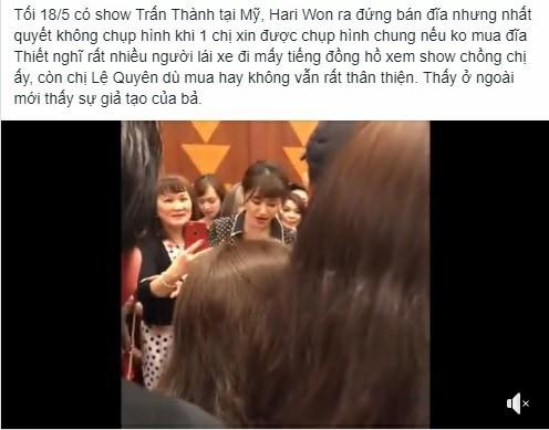 Hari Won bị tố chảnh chọe khi từ chối chụp hình cùng khán giả lớn tuổi