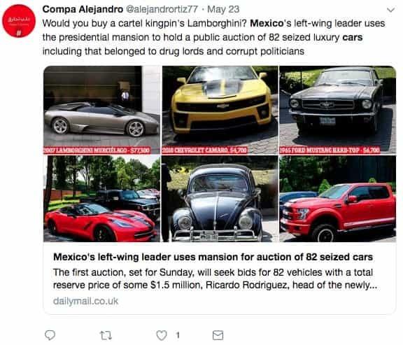 Mexico: Rao bán 82 siêu xe tịch thu từ quan chức tham nhũng