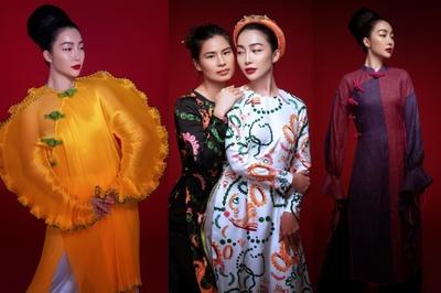 Linh Nga hút hồn trong áo dài cách điệu của NTK Thủy Nguyễn