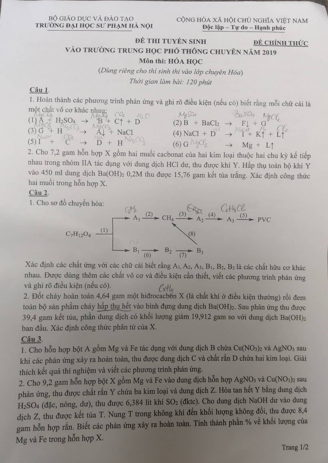 Đề thi Hóa học vào lớp 10 Trường THPT Chuyên Sư phạm