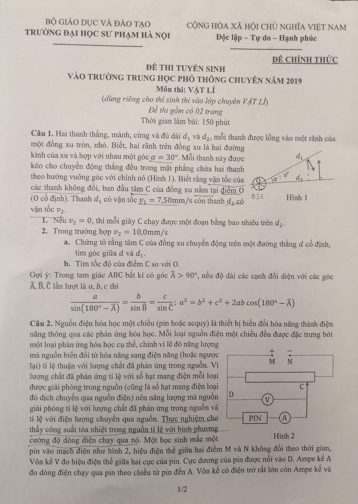 Đề thi chuyên Vật lý vào lớp 10 Trường THPT Chuyên Sư phạm