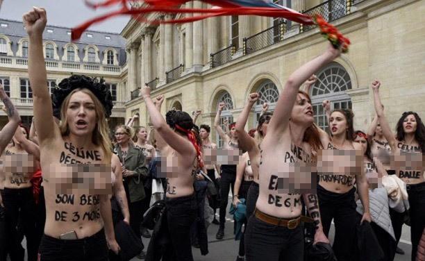 biểu tình,Femen,biểu tình ngực trần,Pháp