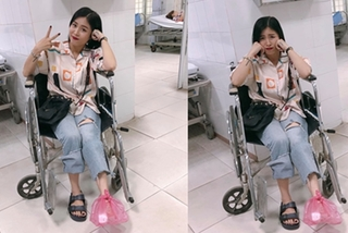 MC Hoàng Linh bị lật ngón chân phải vào viện