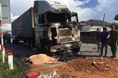Xe container tông liên hoàn rồi bốc cháy, 1 người chết ở TT-Huế