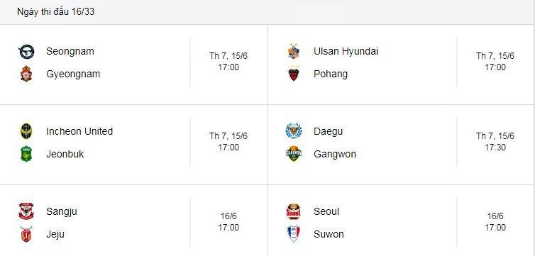 Lịch thi đấu vòng 16 K-League của Công Phượng