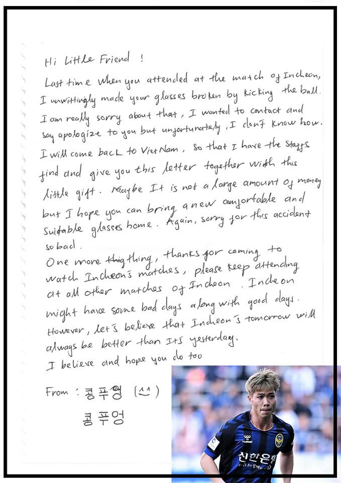 Công Phượng viết thư xin lỗi CĐV nhí Incheon United