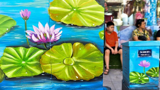 Hanoi: Sidewalk electricity boxes got a facelift