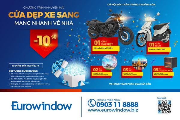 Săn xe máy 'khủng' khi mua cửa Eurowindow