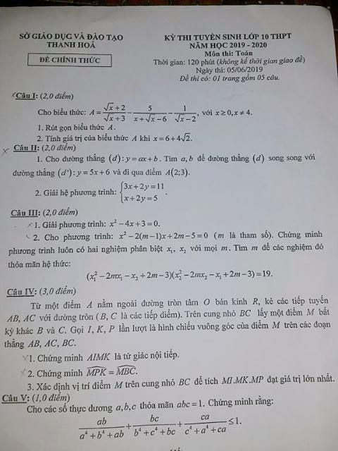 Môn Toán vào lớp 10 ở Thanh Hóa dễ lấy điểm 7, 8