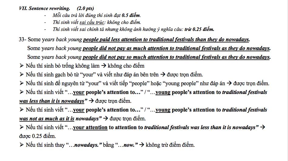 9 cách chấm đúng cho 1 câu hỏi sai trong đề thi tiếng Anh vào lớp 10