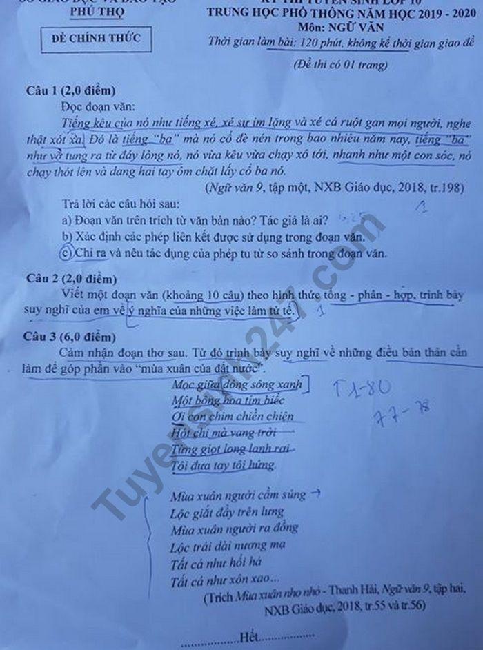 Đáp án tham khảo môn Ngữ văn thi vào lớp 10 của Phú Thọ năm 2019
