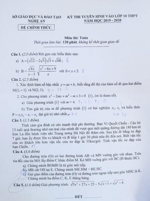đề toán vào lớp 10,đề toán vào lớp 10 Nghệ An,thi lớp 10,thi lớp 10 Nghệ An