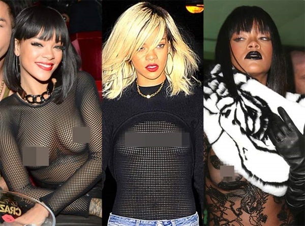 Rihanna mặc váy mỏng xuyên thấu khoe vòng 1 gây sốc nhất từ xưa đến nay