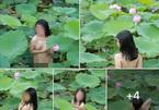 Cô gái khỏa thân ngâm mình chụp ảnh dưới hồ sen gây bức xúc