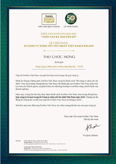 PVFCCo lần thứ 5 vào Top 50 DN niêm yết tốt nhất Việt Nam