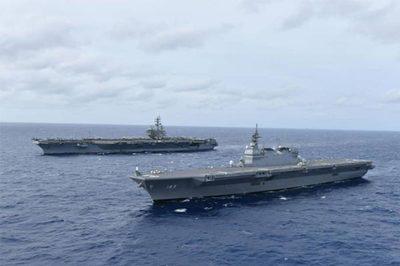 Tàu chiến Mỹ, Nhật tập trận rầm rộ ở Biển Đông