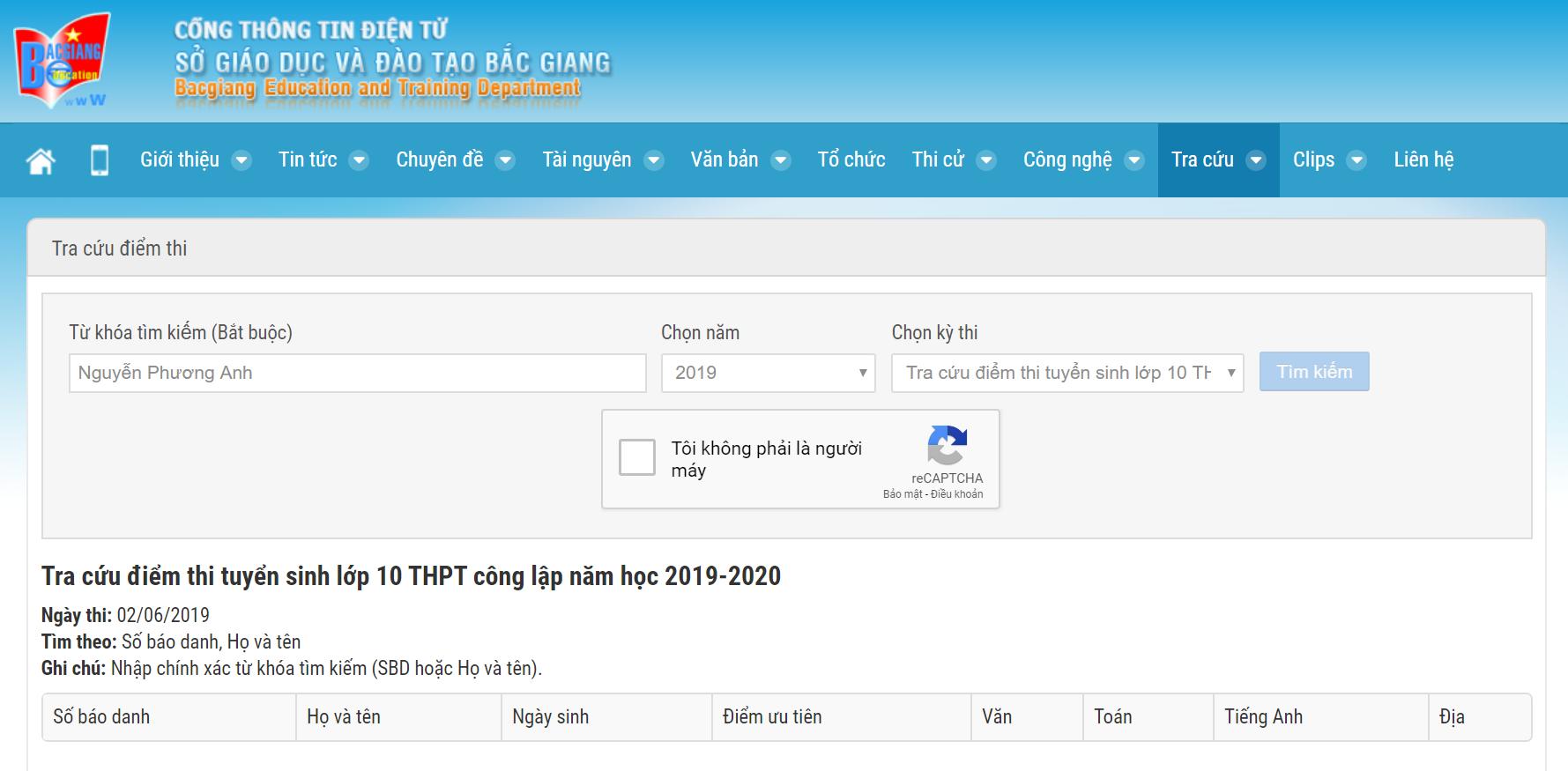Bắc Giang chính thức công bố điểm thi vào lớp 10 năm 2019