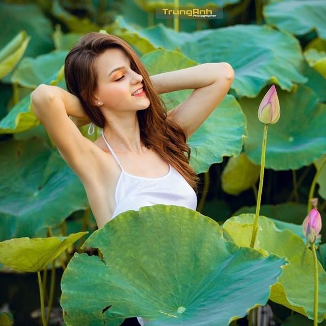 Ba người đẹp Đông Âu 'gây sốt' khi chụp ảnh với sen