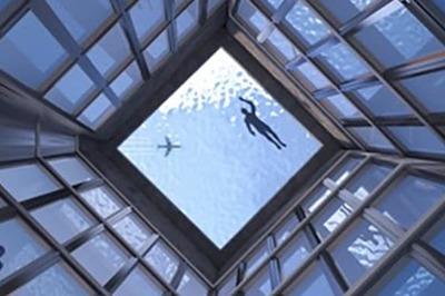 Kinh ngạc bể bơi trên nóc nhà 55 tầng, muốn lên phải đi tàu ngầm