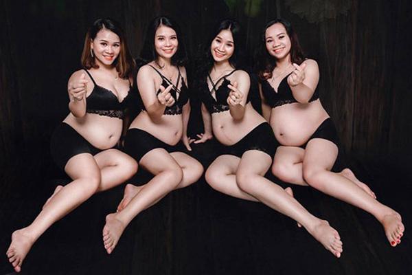 4 chị em ruột cùng mang bầu, cô nào cô nấy xinh lung linh