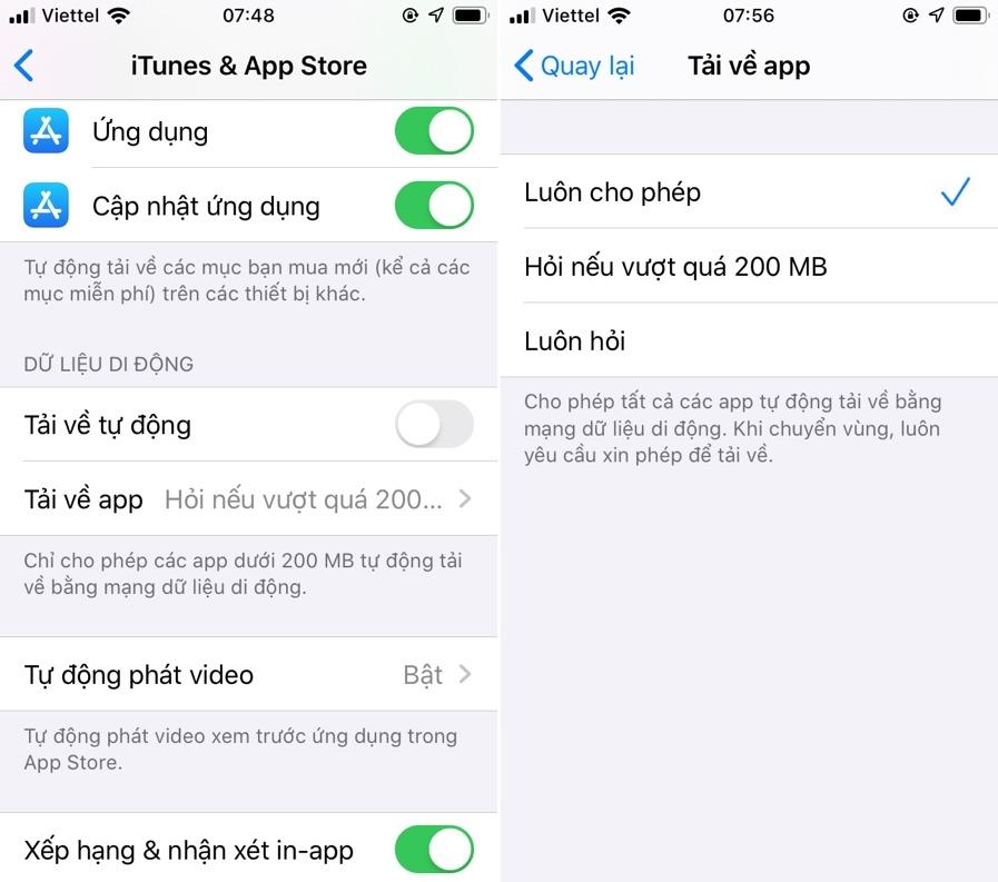 Thủ thuật iOS 13: Cách tải ứng dụng trên 200MB bằng mạng 3G/4G
