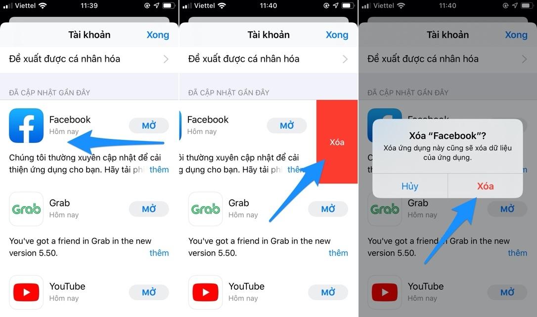 Cách xóa ứng dụng ngay từ màn hình cập nhật App Store trên iOS 13
