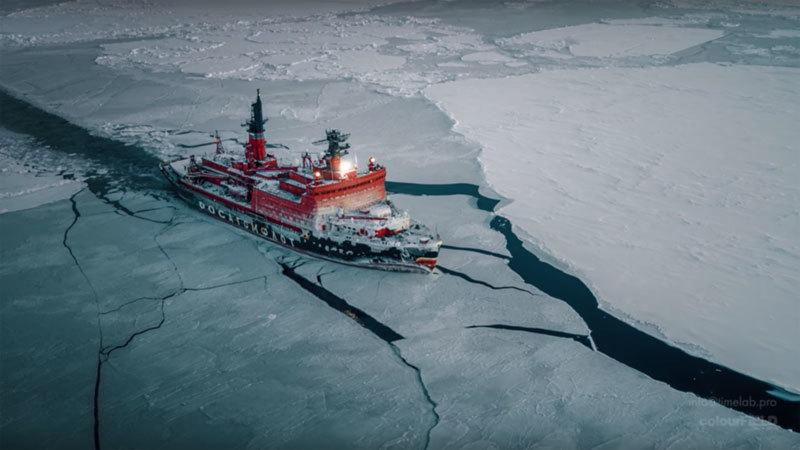 Xem tàu phá băng hạt nhân Nga chinh phục Bắc Cực