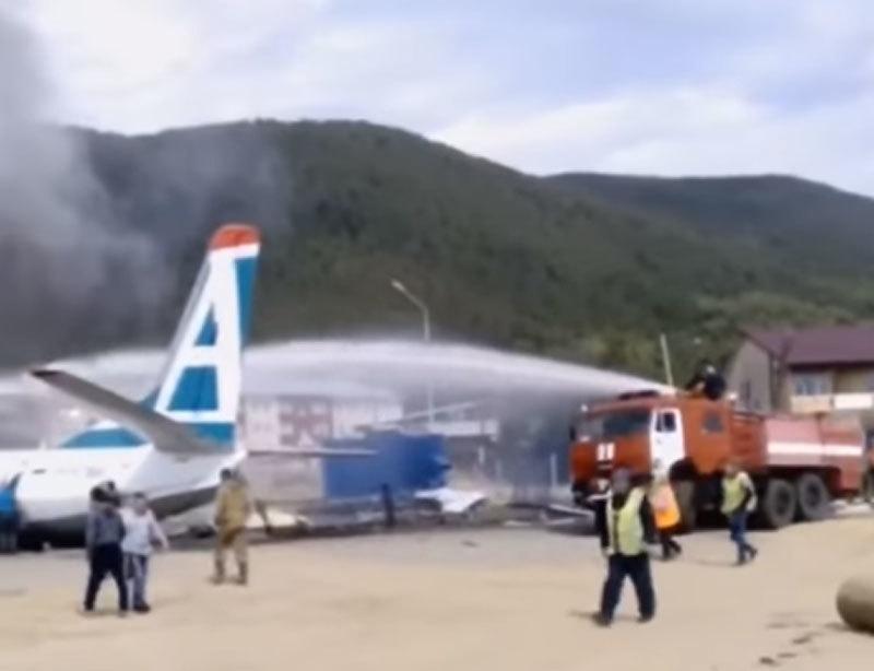 Máy bay Nga trượt đường băng bốc cháy ngùn ngụt