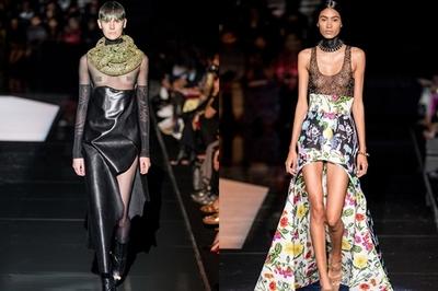 Người mẫu hở ngực sải bước ở Tuần lễ Thời trang Paris