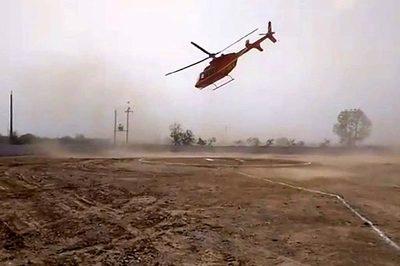 Thót tim xem trực thăng quay tít trên không khi hạ cánh