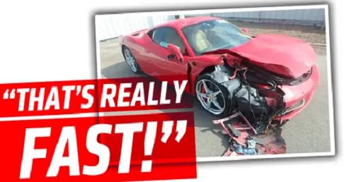 Siêu xe Ferrari F12 vỡ nát trên cao tốc sau một cú đâm