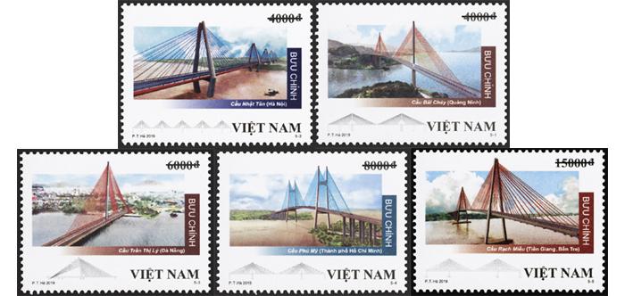 Bộ tem Cầu dây văng Việt Nam,cầu dây văng,phát hành tem