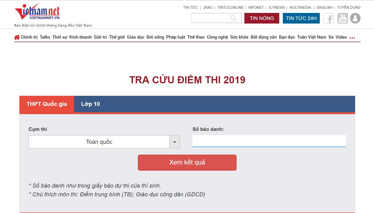 Tra cứu điểm thi THPT quốc gia 2019 trên VietNamNet