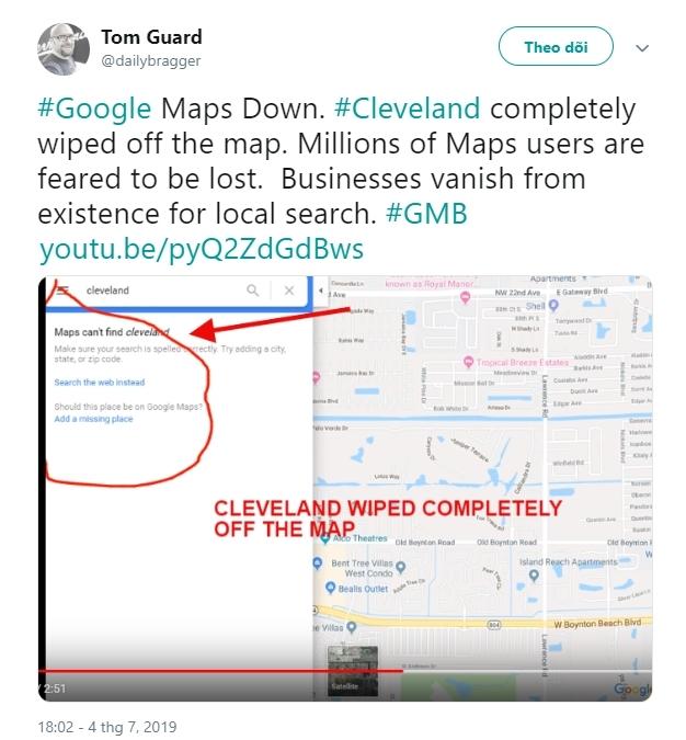 Google Maps,bản đồ,lỗi mạng,hoảng loạn,lạc đường,máy chủ