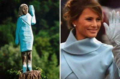 Lùm xùm việc vợ ông Trump được dựng tượng gỗ