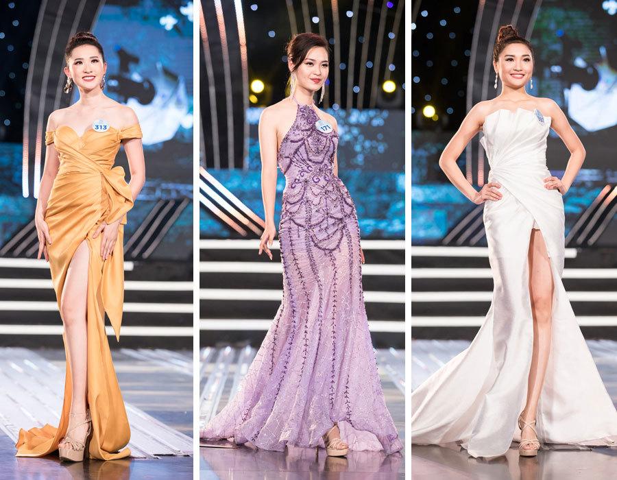 Thí sinh Miss World Việt Nam khoe chân thon trong đầm dạ hội