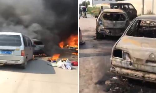 Đỗ cạnh xe bán tải bốc cháy, 7 xe ô tô khác bị thiêu rụi